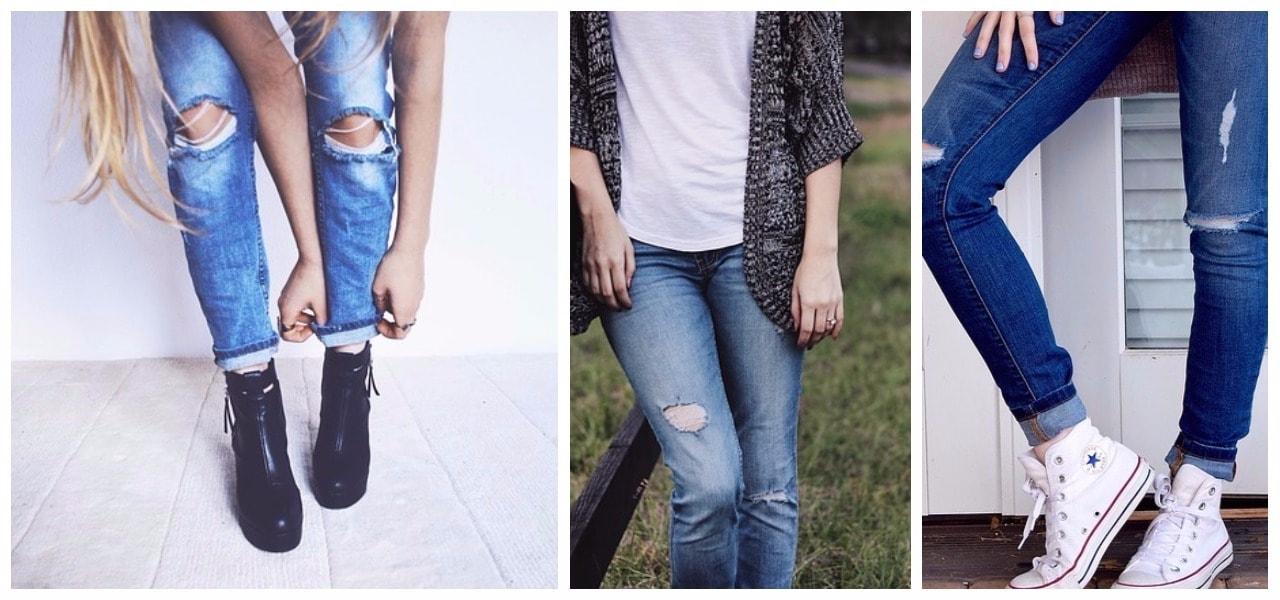 джинсы с дырами