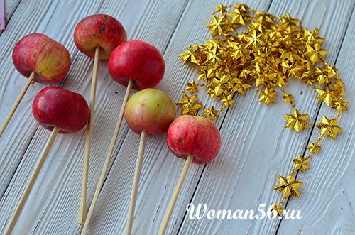 палочки для яблок в карамели