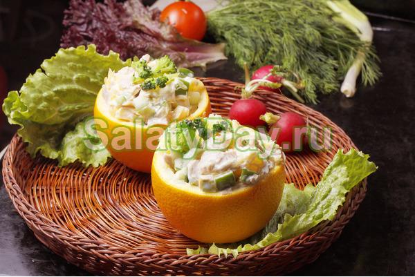 Нежнейший салат из сыра с апельсинами