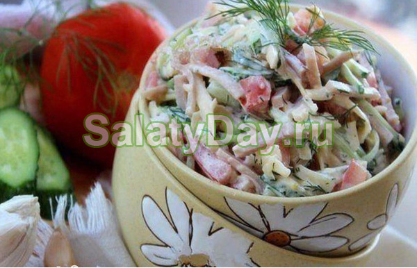 Салат с ветчиной и сыром и огурцами «Праздничный»