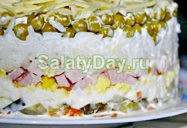 Салат с ветчиной и сыром и огурцами «Невеста»