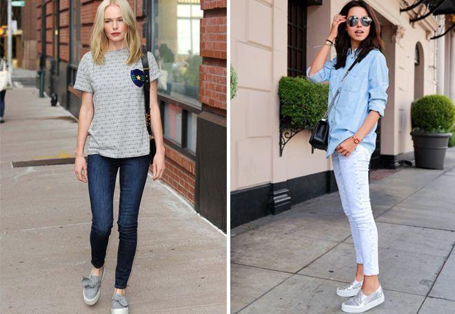 джинсы скинни со слипонами