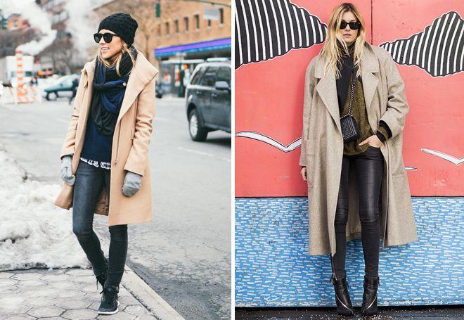 джинсы скинни с пальто