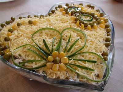 Колбасный салат с консервированными шампиньонами