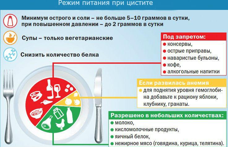 Режим питания при цистите (схема)