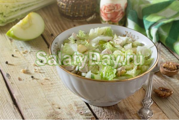 Салат с курицей и яблоком – простой рецепт