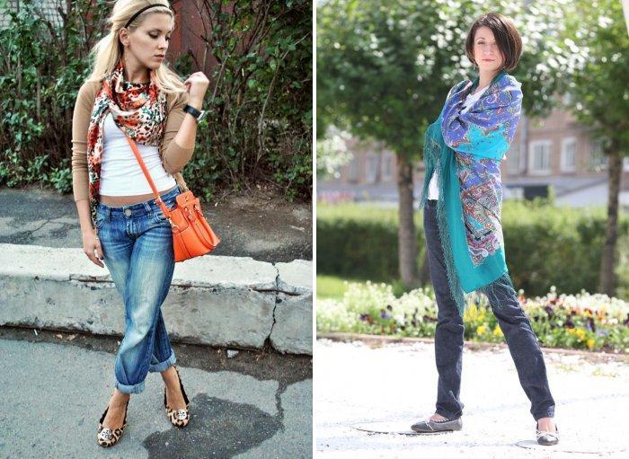 Шейный платок с джинсами