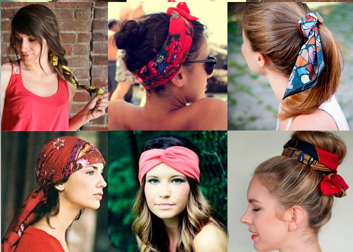 Яркий шейный платок на голове