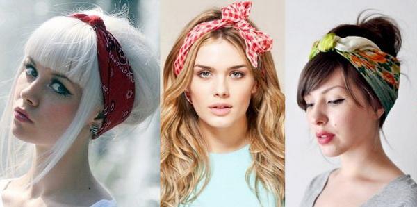 Шейный платок с пучком на голове