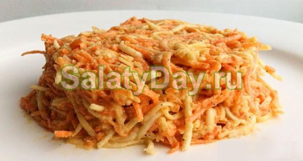 Легкий салатик из свежего сельдерея и моркови