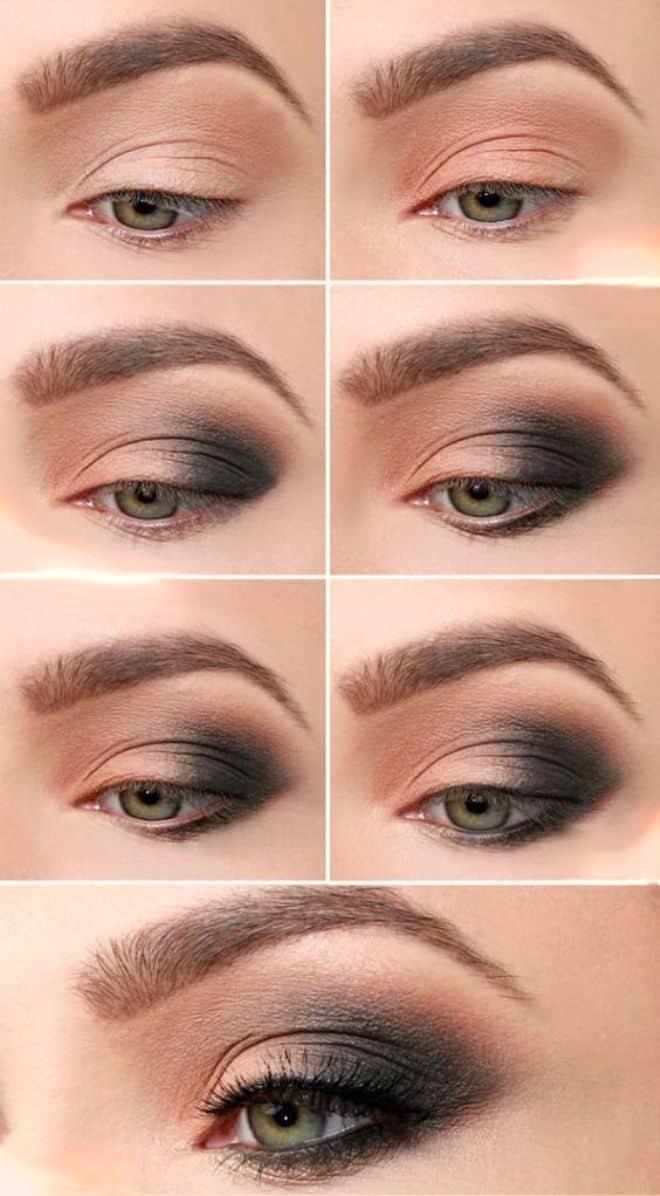 макияж для шатенок с серо зелеными глазами